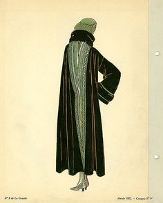 Date: 1922    Description: Brown coat with green and fur trimming