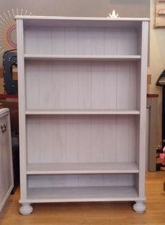 Annie Sloan Chalk Paint Bookcase - Size x x Annie Sloan Furniture, Painted Furniture, Furniture Ideas, Annie Sloan Chalk Paint Paloma, Painting Bookcase, Desk, Shelves, Room, Home Decor