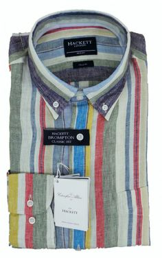 Hackett Linen Multistripe Brompton Classic Fit Shirt - £125 with FREE UK Delivery #Hackett #Shirts #Mens #Fashion