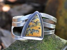 Dendritic Opal Gemstone on Sterling Silver Cuff Bracelet - Danielle H. Ross, Metalsmith - http://www.gemstonejewelrybydanielle.com/products/dendritic-opal-gemstone-sterling-silver-cuff-bracelet https://www.facebook.com/gemstonejewelrybydanielle https://www.etsy.com/shop/DanielleHRossJewelry
