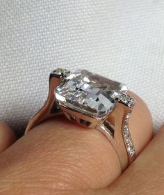 Radiant Emerald Cut 4.5ct  Ring   Sterling by antiqueandmore, $49.00