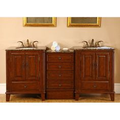 "Silkroad Exclusive Allegheny 76"" Double Bathroom Vanity Set & Reviews 
