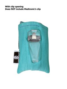 Turquoise Heather Insulin Pump Pouch Case with Clip Opening.