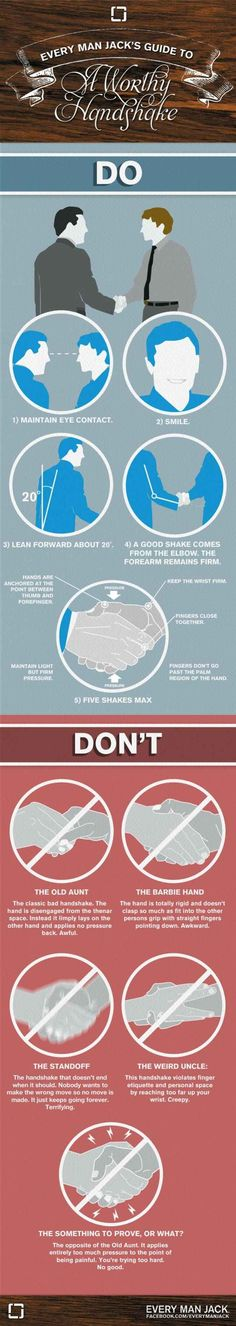 The Dos and Don'ts of giving a handshake.