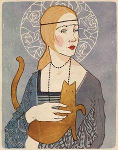 Lena with a Cat © Magdalena Szymaniec. Crazy Cat Lady, Crazy Cats, Cat Allergies, Red Cat, Cat People, Cat Drawing, Portrait Art, I Love Cats, Cat Art