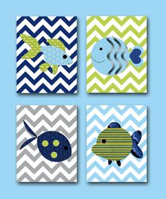 Sea Fish Nursery Baby Boy Nursery Art Nursery Wall by artbynataera, $80.00  Scrapbook paper craft