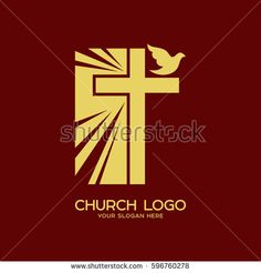 Church logo. Christian symbols. The radiance of the cross of the Lord and Savior Jesus Christ and the Holy Spirit