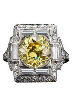 Fred Leighton Art Deco 2.65 carat Yellow Diamond Ring set in Platinum, fredleighton.com.
