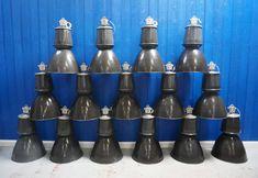 Set Of 10 Ten Vintage Large Czech Industrial Pendant Enamel Lamps From Bentwood Chairs, Furniture Collection, Vintage Furniture, Lamp Light, Vintage Designs, 1960s, Water Bottle, Enamel, Mid Century