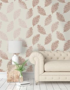 Holden Statement Wallpaper - Fawning Feather Cream and Rose Gold- 1262...