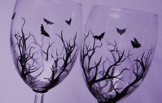 Going Batty Hand Painted Dessert Wine by CraftyCarolinaGirls, $40.00