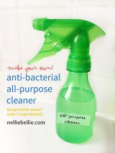 DIY antibacterial-all-purpose-cleaner with only 3 easy to find ingredients! #DIY #cleaner #antibacterial #teatreeoil