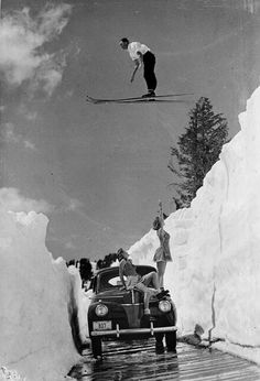 Uncredited - Man Ski-Jumping over Road. °