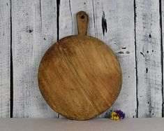 Antique rustic cutting board with food chopper / Bread board / Chopping board / Vintage wooden chopping board / Rustic kitchen decor
