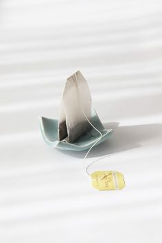 Ceramic Pottery Porcelain tea bag holder  with light Blue glaze.. $8.00, via Etsy.