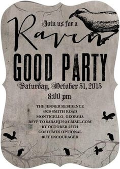 Birds, birds, birds! Your party will be raven good with this spooky black and grey Halloween invitation.
