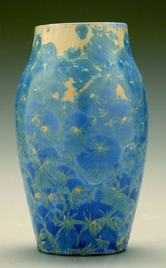 Crystalline glazed vase by Leftwich, Pisgah Forest Pottery, 8 3/4', 1996