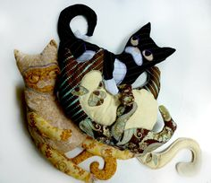 Runkles, Paisley & Moxie:cat softies, handmade and one-of-a-kind by galacticbloom