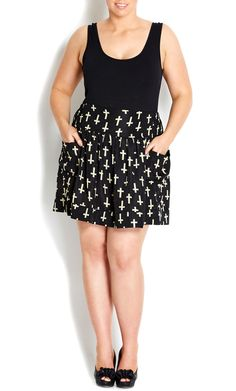 $30 BLACK CROSS FLIPPY SKIRT