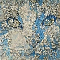 Ondragonwingsstudio gallery on dragon wings studio Art Fibres Textiles, Textile Fiber Art, Broderie Simple, Lace Art, Cat Art Print, Cat Quilt, Animal Quilts, Antique Lace, Embroidery Art