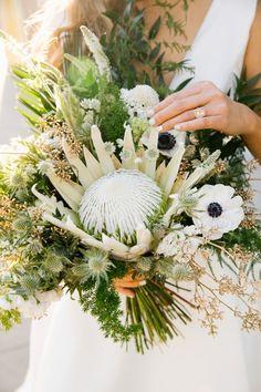 Modern wedding bouquet idea - king protea bouquet with greenery {Jenn Emerling}
