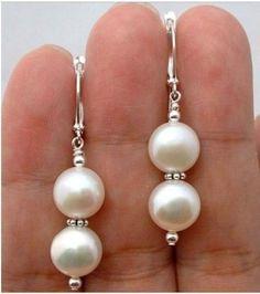 White shell/pearl drop earrings, 8mm @ AUD$9.00