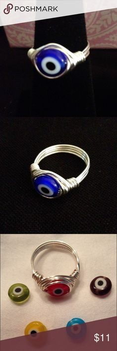 Evil Eye Silver WireWrapped Ring Glass Evil Eye Bead WireWrapped with Sterling silver plated wire! Custom size and Eye Color⭐️ Dark Blue, light blue, red, green, yellow, purple Jewelry Rings