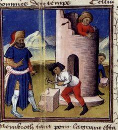 Unknown (15th century)-'Tower of Babel (construction)'-illumination    Paris-BNF (De casibus fr 229, fol 6   ca 1440)