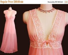 SUMMER SALE Vintage Intime Lace Sheer Double Nylon Nightgown