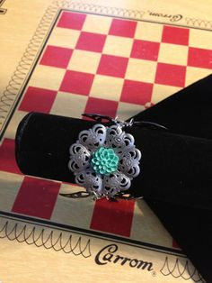 Silver Metal Filigree Butterfly and Teal by VintageBellissima, $15.00