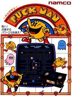 Japanese Video Game Flyer: Puck Man. 1980 - Gurafiku: Japanese Graphic Design
