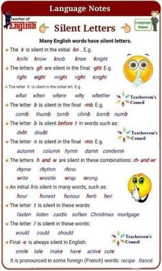 Silent letters when speaking English Phonics, Teaching English Grammar, English Grammar Worksheets, English Writing Skills, English Verbs, English Vocabulary Words, Learn English Words, English Language Learning, English Spelling Words