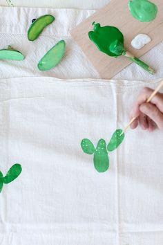 DIY Potato Stamped Cactus Tea Towel - Say YesSay Yes