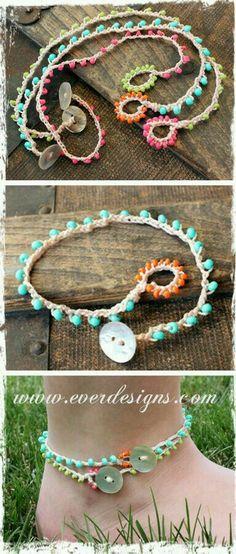Ideas Crochet Bracelet Ankle Beaded Anklets For 2020 Bracelet Crochet, Bead Crochet, Crochet Crafts, Crochet Projects, Diy Crochet, Beaded Anklets, Beaded Jewelry, Handmade Jewelry, Crochet Jewellery