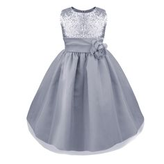 iEFiEL Girls Sequined Flower Wedding Pageant Prom Ball Dress (4, silver). girls summer pageant flower dress. sequined bodice, round neck, hidden back zipper closure. empire waist, a removable flower brooch. 4-layer skirt, including 2 tulle and 1 satin, netting lining for fullness. perfect for dress up, pegeant party, Christmas or Birthday gift.
