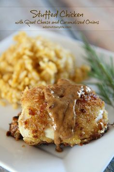 Impress family and friends! This goat cheese stuffed chicken breast with caramelized onions is perfect for a dinner party or any special occasion!