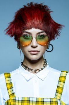Uk Hairstyles, Creative Hairstyles, Short Red Hair, Avant Garde Hair, Generation Z, Hair Designs, Hair Cuts, Hair Color, Pony
