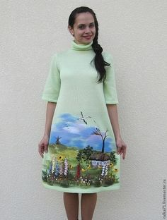 Руслана Быстрова Hand Painted Dress, Hand Painted Fabric, Painted Clothes, Diy Fashion, Fashion Show, Womens Fashion, Diy Clothes, Clothes For Women, Disney Shirts For Family