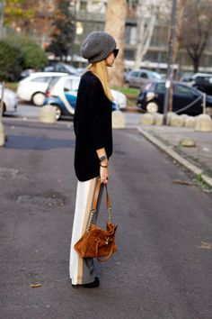 chic track sporty tuxedo pants for fall and beanie hat