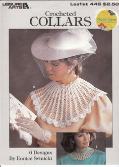 Vintage Crochet Collars Pattern, Leisure Arts 446, contains six beautiful designs by Eunice Svinicki. All six patterns use bedspread weight cotton. Buttons hold the collar in place. All patterns use a size six crochet hook.by NookCove, $1.45