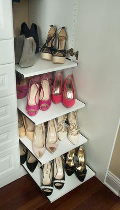 Pull-out shoe shelves #shoes #organize #organization #dreamcloset