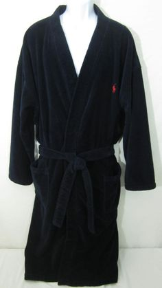 90bf9d0f75 POLO RALPH LAUREN Mens Bath Robe Navy Blue Terry Cloth Cotton L XL Red Pony
