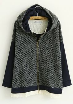 Navy Blue Patchwork Long Sleeve Cotton Blend Hoodie