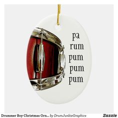 "This cool drummer Christmas ornament features a beautiful red snare drum, with the caption ""pa rum pum pum pum"". Check out www.drumjunkiegraphics.com for more great drummer merch and musician gifts - all designed by a drummer! #drummerchristmas #musicianchristmas #snaredrum #drumjunkie"