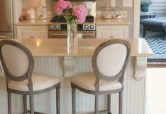 My Nordic French kitchen in our former home with Belgian linen bar stools by Restoration Hardware