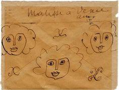 Illustration d'Henri Matisse au dos de son enveloppe adressée à son ami André Rouveyre.  http://unevieunarbre.wordpress.com/1-expo-vienne-2011/%E2%95%90-pierre-stephane-proust/