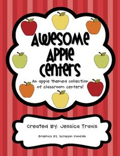 Literacy & Math Centers - Apple Themed (Great for Beginning of Year! Kindergarten Centers, Preschool Kindergarten, Math Centers, Preschool Apple Theme, Apple Activities, Preschool Block Area, Apple Ideas, Apple Unit, 1st Grade Science