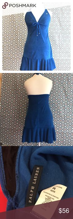 Ralph Lauren polo terrycloth swim cover up Perfectly preppy terrycloth Ralph Lauren polo halter top swim cover-up or can be worn by itself as a dress size medium timeless hard-to-find item. In excellent condition worn twice. Ralph Lauren polo Dresses Mini