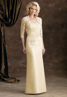 2012 Glamorous Pleated Appliques With Lace Coat Taffeta Column Mother Bride Gown.