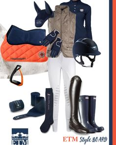 Our very own Style Board - ORANGE and NAVY - Equestrian Style, with Kask Helmets, Ogilvy, Hermes, Equiline, Roeckl, Hunter Boots, Parlanti Tall boots, Animo white breeches, Horze vest and Noel Asmar Equestrian